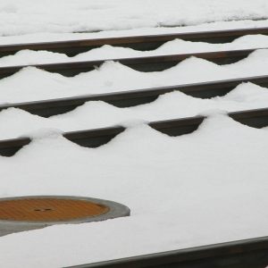 Rail tracks in snow